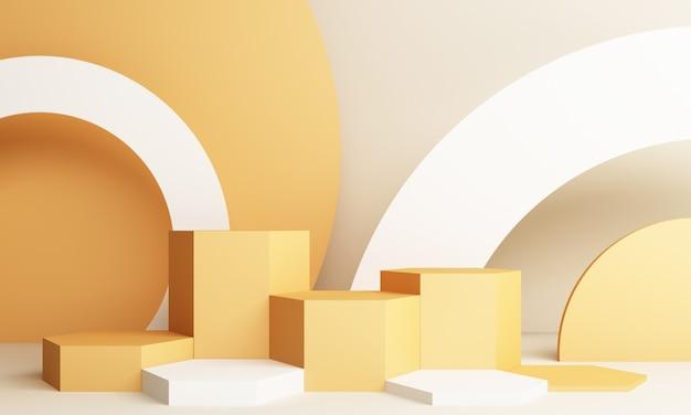 연단과 추상 노란색 구성입니다. 둥근 받침대 및 복사 공간, 쇼케이스, 제품 프레젠테이션이있는 최소 스튜디오 3d 렌더링