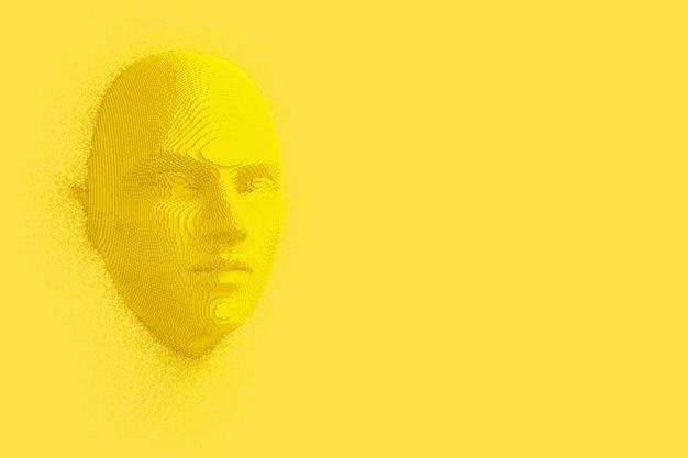 黄色の背景にデュオトーンスタイルで抽象的な黄色の立方体人間の頭と顔。 3dレンダリング