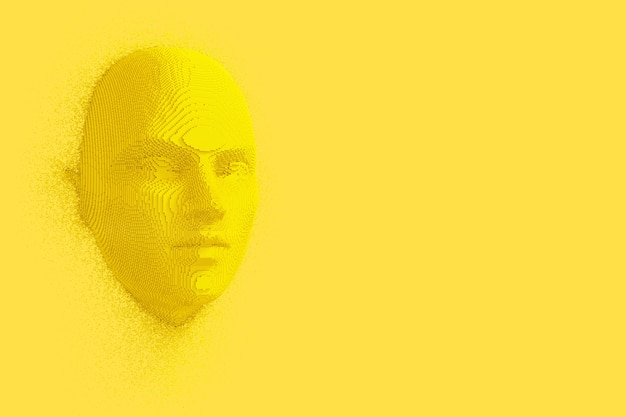 Abstract yellow cubes human head and face in duotone style on a yellow background. 3d rendering
