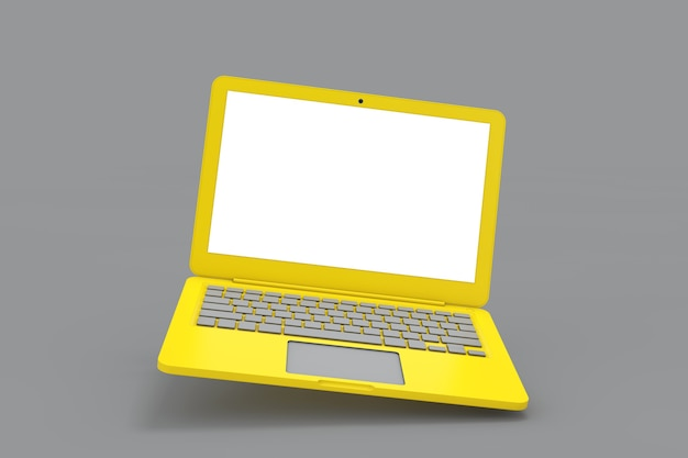 Abstract yellow laptop with blank screen for your design on a gray background. 3d rendering