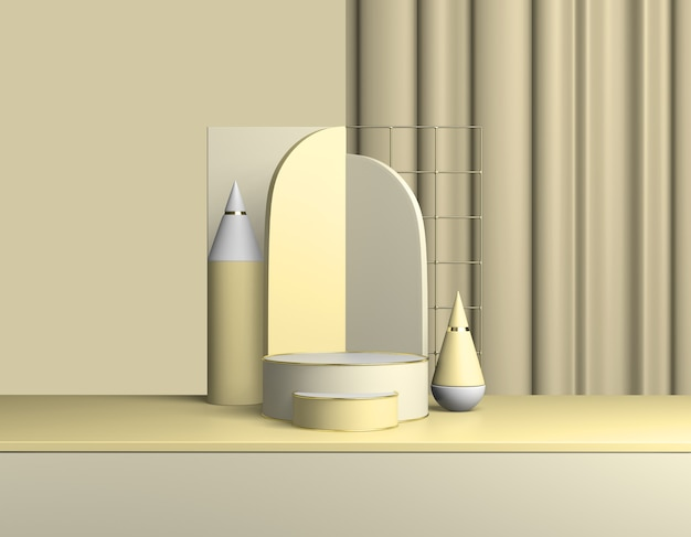 추상 노란색 제품 연단. 파스텔 라이트 베이지 화이트 보드 프레젠테이션 복사 공간, 최소한의 기하학적 모양. 3d 렌더링