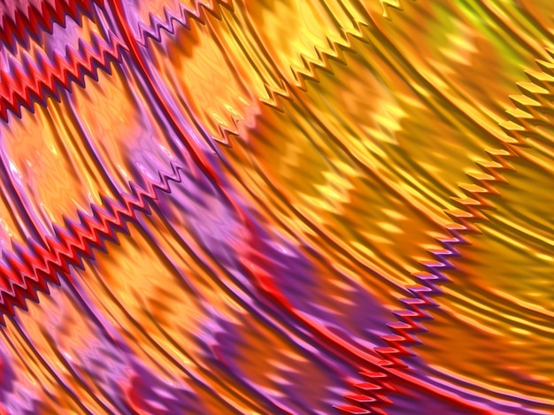 Abstract yellow, red and violet and pink fractal lines and waves. 3d render