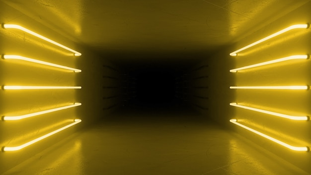 Abstract yellow room interior with yellow glowing neon lamps, fluorescent lamps.