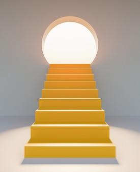 태양 섬광으로 조명 둥근 문 앞에 추상 노란색 계단