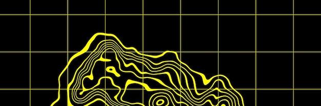 抽象的な黄色の地形等高線。 3dイラスト。