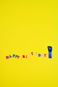 Abstract yellow  with an inscription happy birthday