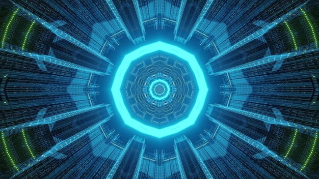 Abstraction of blue tunnel 3d illustration