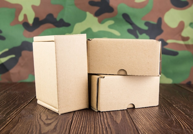Abstraction of military mail on camouflage wall