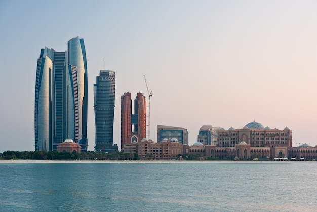 Abu dhabi buildings skyline from the sea