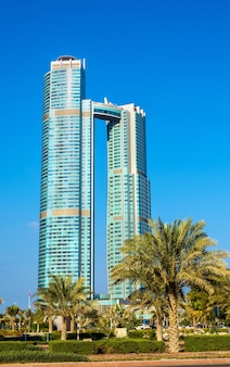 Abu dhabi, uae - december 29: nation towers. the towers have 52 and 65 floors, were built in 2013 and host the st. regis hotel