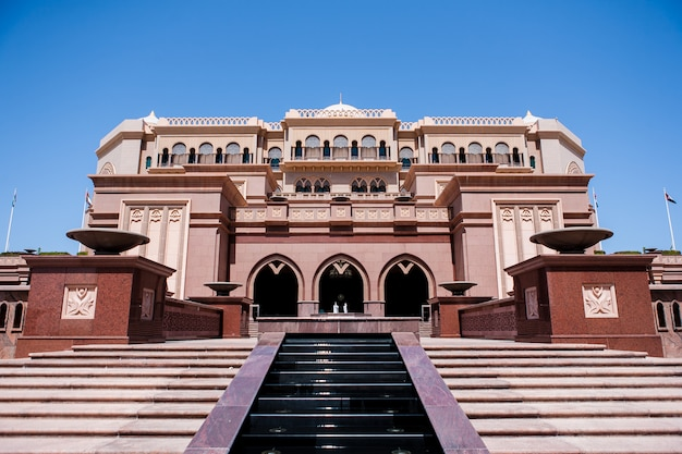 Abu dhabi, uae - march 16: emirates palace hotel on march 16, 2012. emirates palace is a luxurious and the most expensive 7 star hotel designed by renowned architect, john elliott riba.