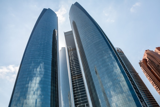 Abu dhabi, united arab emirates - feb 24, 2015: etihad towers is a complex of buildings with five towers in abu dhabi, the capital city of the united arab emirates.