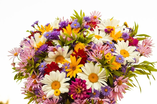 An abundance of diverse beautiful blooming flowers in one summer bouquet