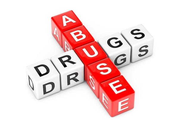 Знак злоупотребления наркотиками как блоки куба кроссворда на белом фоне. 3d рендеринг