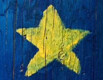 Acadian star painted on wood