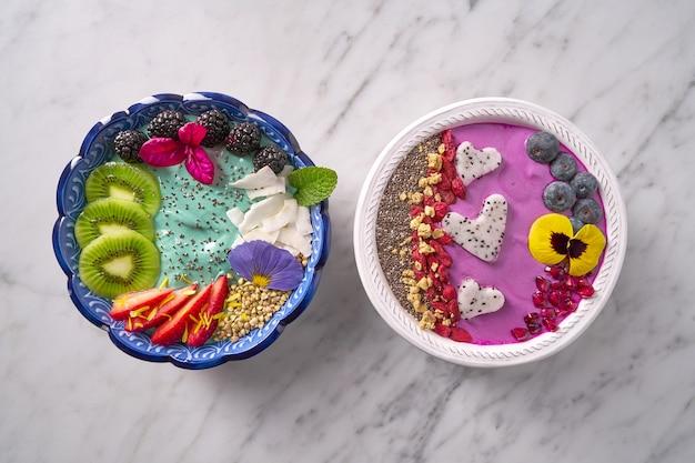 Acai bowl smoothie and spirulina algae bowls