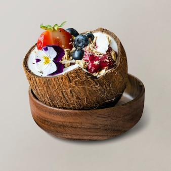 Acai smoothie in coconut shell