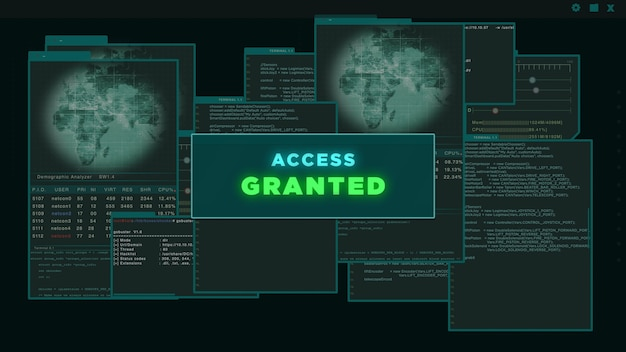 Access granted - virtual interface or hud presenting a hacked server data on dark green background. cyber attack and crime