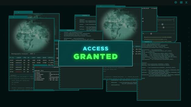 액세스 허용 - 짙은 녹색 배경에 해킹된 서버 데이터를 표시하는 가상 인터페이스 또는 hud. 사이버 공격 및 범죄