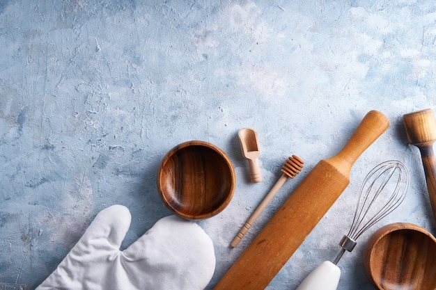 Accessories for baking. cooking tools on the kitchen table.