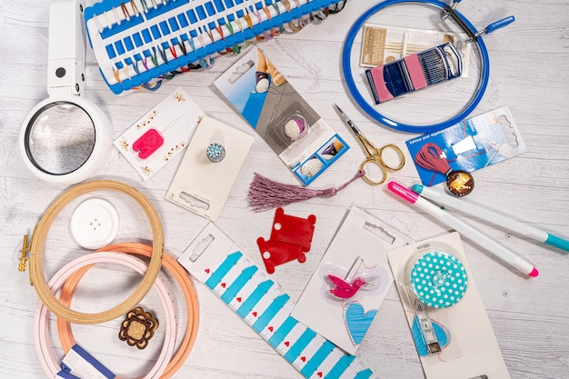 Accessories for hobbies. needles, threads, hoops snaps, marker, stick for knitting and embroidery