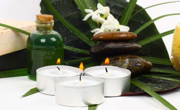 Accessories for spa with flowers of jasmine