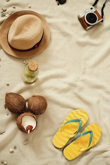 Accessories for summer holidays, top view copyspace