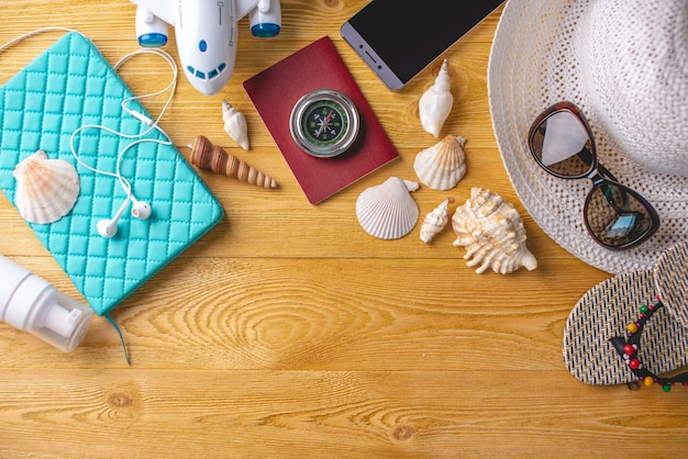 Accessories for summer sunny holiday in the resort