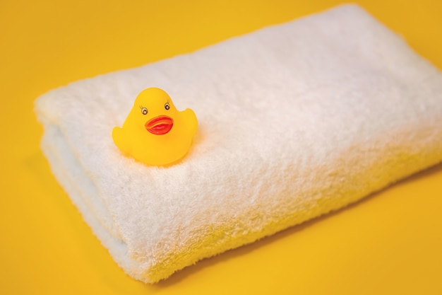 Accessories for swimming duck on a yellow.