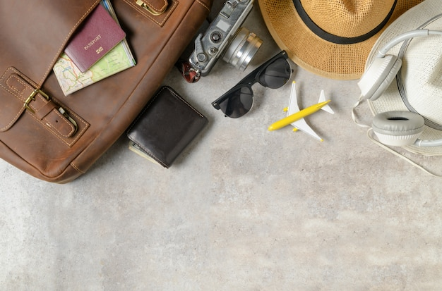 Accessories for travel plan, trip vacation