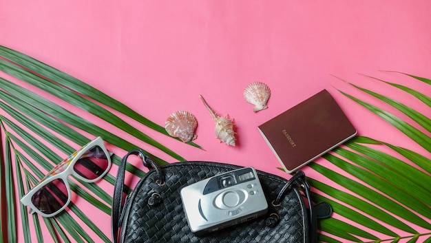 Accessories traveler camera and sunglasses palm leaf. top view concept summer.