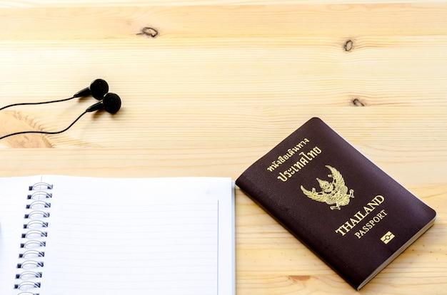 Accessories for traveler: passport earphone music and notebook
