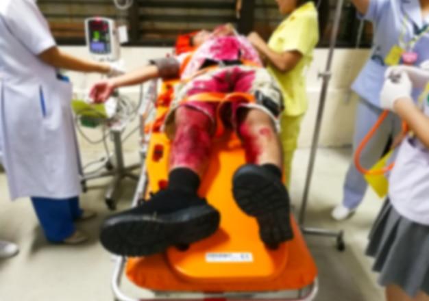 事故と緊急事態と血液供給患者の救急室、ぼかし