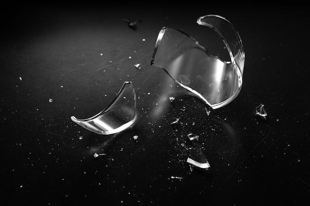 Accident glass break sharp and danger