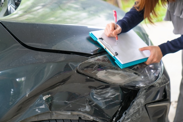 Accident statement paper used after a car accident