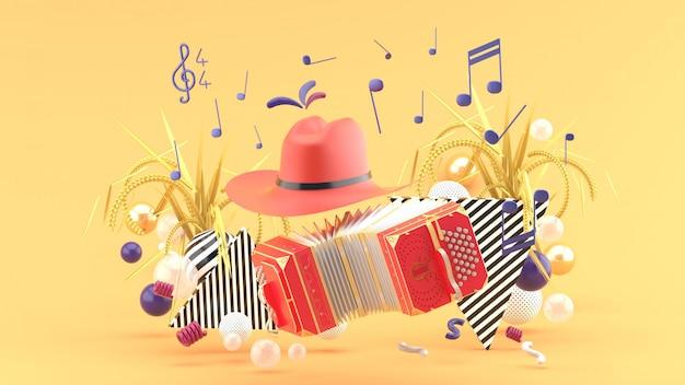 Accordionnd ковбойская шляпа среди нот и разноцветные шарики на оранжевом. 3d визуализация