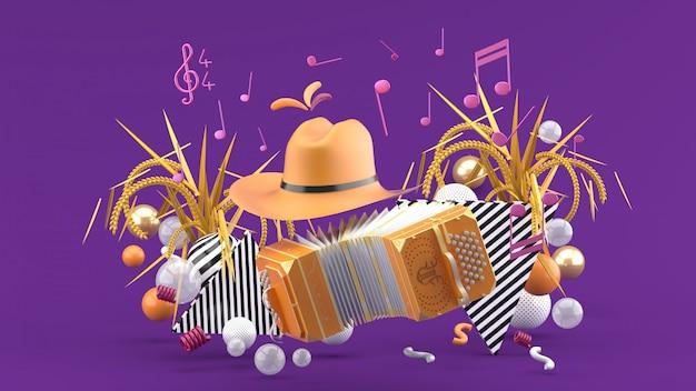 Accordionnd ковбойская шляпа среди нот и разноцветные шарики на фиолетовый. 3d визуализация