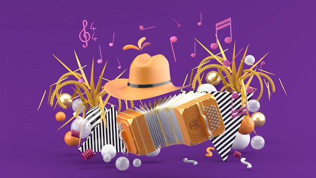 Accordionnd a cowboy hat among the notes and colorful balls on the purple. 3d render