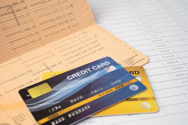 Account book bank with credit card