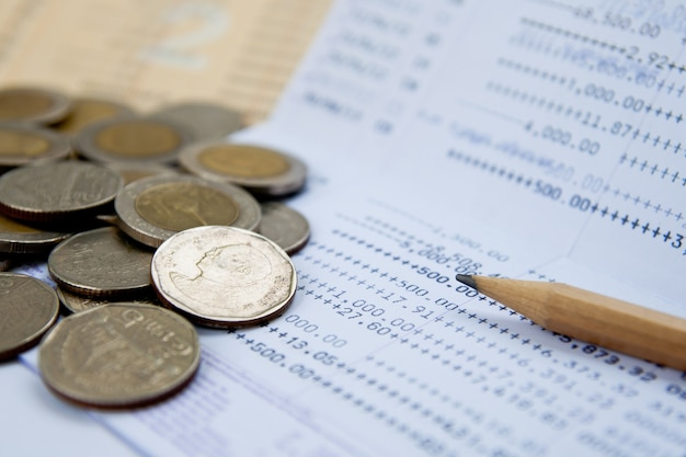 Account passbook and thai money