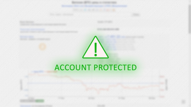 Account protected concept with exclamation mark in green triangle over bitcoin graphics