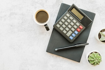 Accountant workplace with coffee