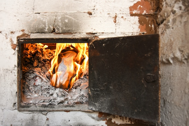 Accounting business documents are burned on fire in the oven