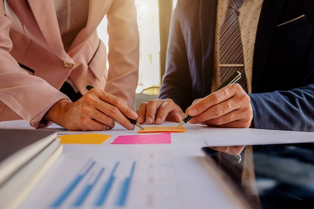 Accounting hands businessman statistics discussing business