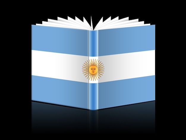Accurate flag of argentina isolated open book on a black background
