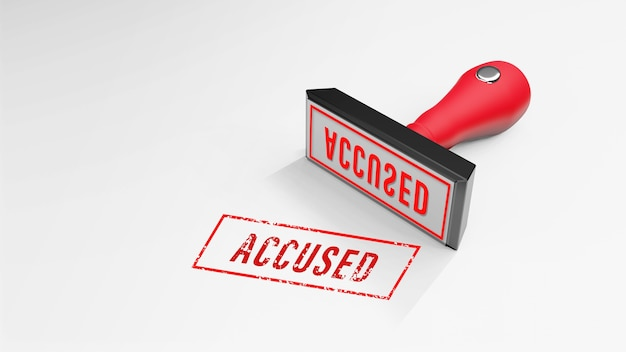 Accused  rubber stamp 3d rendering