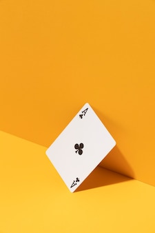 Ace card on yellow background