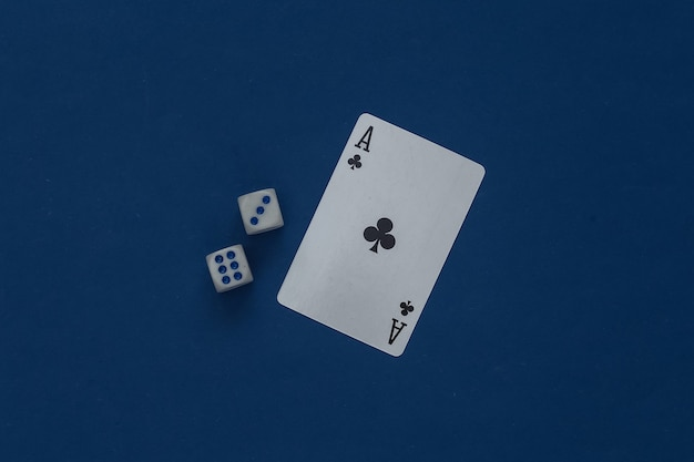 Ace of clubs and dice on a classic blue.