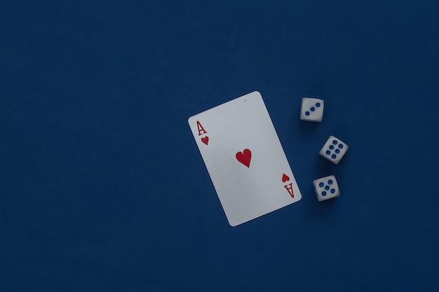 Ace of hearts and dice on a classic blue.