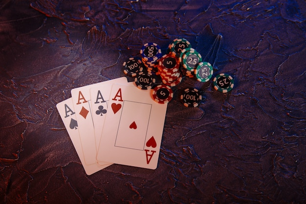 Aces and stucks of gambling chips.